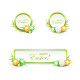 Set of Easter banners and eggs Stock Photography