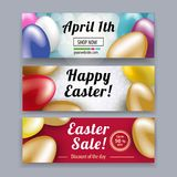 Set of Easter banners. Gold, red, blue, yellow white Easter eggs on the red, white, yellow backgrounds. Bright Easter card Stock Images