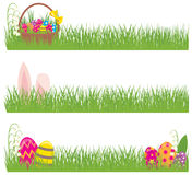 Set of Easter banners grass and Easter eggs Stock Photography