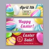 Set of Easter banners. Pink yellow white Easter eggs on the red, white, yellow backgrounds. Bright Easter card Stock Photography