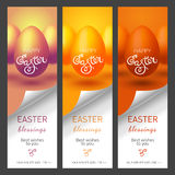 Set with Easter banners for web site. Vector illustration with colorful Easter eggs. EPS 10 stock illustration