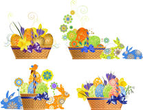 Set of Easter basket with flowers and rabbit. Royalty Free Stock Photos