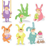 Set of easter bunnies. Set of kids dressed in Easter bunny costumes. vector is also available Stock Photo