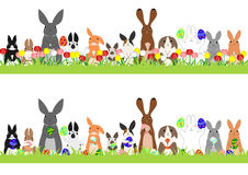 Set of easter bunnies in a row Royalty Free Stock Image