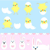Set of easter bunny, chick hatched Royalty Free Stock Photography