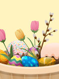 Set of Easter Cake, Color Eggs, Flowers and Willow Royalty Free Stock Photos