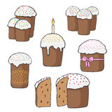 Set of Easter cakes.Vector illustration. Stock Photo
