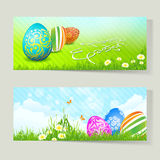 Set of Easter Cards with Decorated Eggs Stock Photo