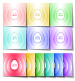 Set of Easter cards of different colors with a stylized white ea Stock Photo