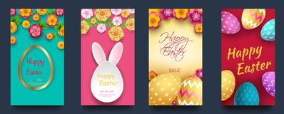 Set of Easter cards with spring flowers and flat easter icons on colorful background. Vector illustration. Place for your text Stock Image