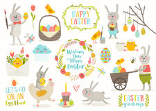 Set of Easter cartoon characters and design elements Stock Photography
