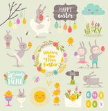 Set of Easter cartoon characters and design elements Royalty Free Stock Photos
