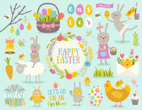 Set of Easter cartoon characters and design elements Stock Image