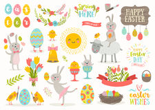 Set of Easter cartoon characters and design elements. Set of cute Easter cartoon characters and design elements. Easter bunny, chickens, eggs and flowers.Vector Stock Images