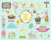 Set of Easter cartoon characters and design elements Royalty Free Stock Photography