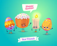 Set of Easter characters. Vector cute cartoons Royalty Free Stock Photography