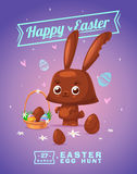 Set of Easter characters. Vector cute cartoons. Happy Easter greeting card with chocolate bunny and eggs. Vector cartoon illustration. Cute stylish characters Stock Photos
