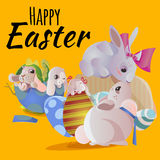 Set of easter chocolate egg hunt bunny basket on green grass decorated flowers, rabbit funny ears, happy spring season Royalty Free Stock Photos