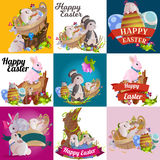 Set of easter chocolate egg hunt bunny basket on green grass decorated flowers, rabbit funny ears, happy spring season Royalty Free Stock Images