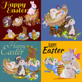 Set of easter chocolate egg hunt bunny basket on green grass decorated flowers, rabbit funny ears, happy spring season Royalty Free Stock Image