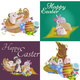Set of easter chocolate egg hunt bunny basket on green grass decorated flowers, rabbit funny ears, happy spring season Stock Photography