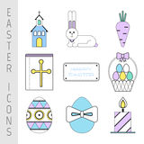 Set of Easter color flat icons. Collection Easter symbols and pictures Stock Photo
