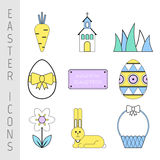 Set of Easter color flat icons. Collection symbols and pictures Royalty Free Stock Photos