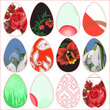 Set of easter colorful eggs- illustration Royalty Free Stock Photos