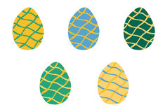 Set of Easter colorful eggs with wavy lines in  Stock Photography