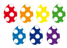 Set of Easter colorful polka dot eggs. Set red, orange, yellow, green, blue and violet Easter eggs decorated polka dot vector illustration