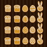 Set  Easter  cookies icons Stock Photo