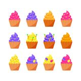Set of Easter cupcakes for the Easter holiday. Vector illustration. vector illustration
