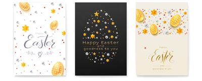 Set of Easter decorative invitation. Festive pattern made from glittering gold and silver stars and pearls. Poster with. Design of handwritten greetings text royalty free illustration
