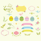 Set of Easter design elements  eggs, ribbons, frames, floral  vector illustration. Stock Photo