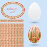 Set of Easter design elements. Eggs seamless pattern frame and brush with ornaments. Vector illustration Stock Photos