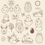 Set of Easter Doodles Stock Photography