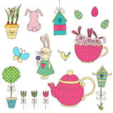 Set of Easter doodles. Vector illustration. Isolated objects on a white background. Drawn by hand Stock Photos