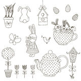Set of Easter doodles. Vector illustration. The isolated vector outline on white background. Stamp. Coloring. Drawn by hand Royalty Free Stock Photos