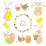 Set for Easter, Easter bunnies Stock Photo