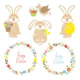 Set for Easter, Easter bunnies, flowers, birds Stock Photo