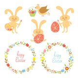 Set for Easter with Easter items Royalty Free Stock Images