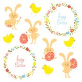 Set for Easter with Easter items Royalty Free Stock Image