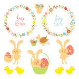 Set for Easter with Easter items Stock Images