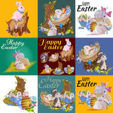 Set of easter egg hunt bunny basket on green grass decorated flowers, cute rabbit funny ears, happy spring season Royalty Free Stock Photo