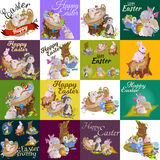 Set of easter egg hunt bunny basket on green grass decorated flowers, cute rabbit funny ears, happy spring season Royalty Free Stock Image
