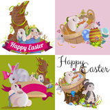 Set of easter egg hunt funny bunny with basket decorated flowers, cute rabbit happy spring season holiday tradition Stock Photography
