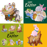 Set of easter egg hunt funny bunny with basket decorated flowers, cute rabbit happy spring season holiday tradition Stock Images