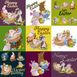 Set of easter egg hunt funny bunny with basket decorated flowers, cute rabbit happy spring season holiday tradition Royalty Free Stock Image