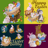 Set of easter egg hunt funny bunny with basket decorated flowers, cute rabbit happy spring season holiday tradition Royalty Free Stock Images