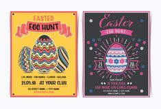 Set of Easter egg hunt invitation template. royalty free stock images